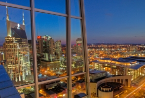 Downtown Nashville skyline photographed between 7pm and 7:25pm from the Pinnacle Tower. (John Russell/Vanderbilt University)