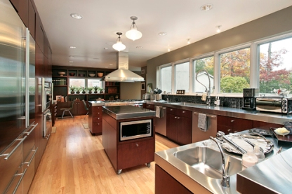 Kitchen in luxury home with stainless steel counters